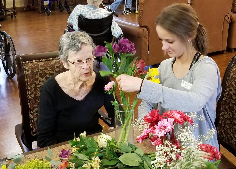 flower arranging with resident