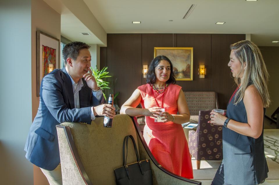 Attendees at our Diversity Retreat client event meet and mingle.