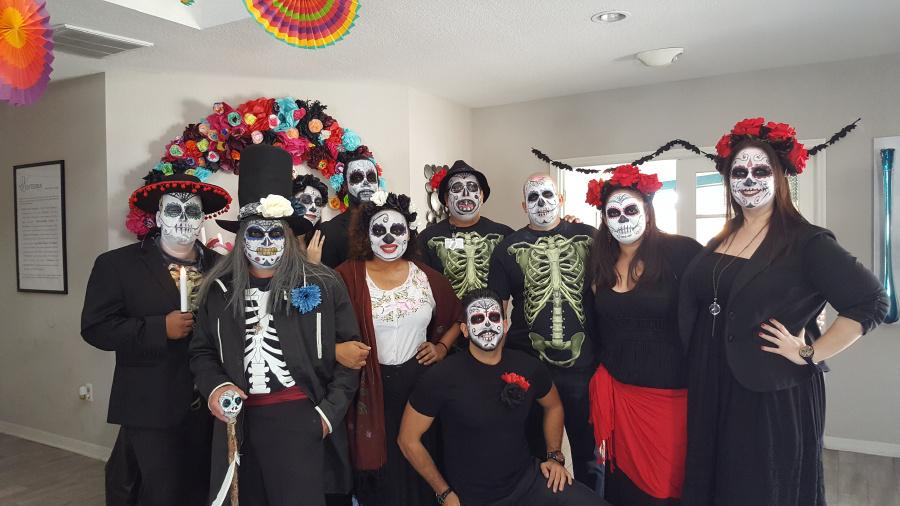 The Valencia Team went all out with costumes and decorations in celebration of Dia de los Muertos