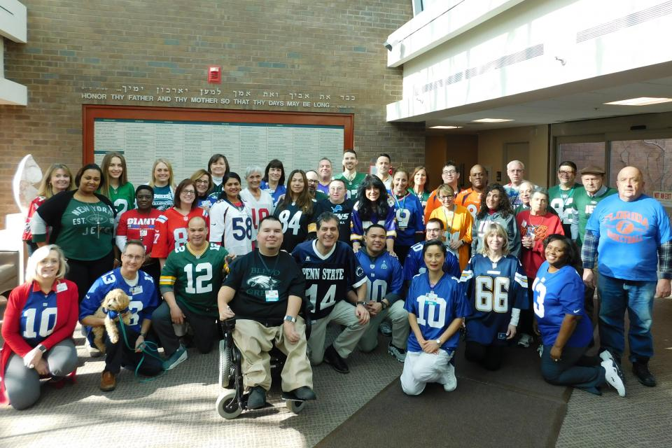 """Spirit Days are a particular hit with Gurwin staff, who wear their teams' jerseys with pride!"""
