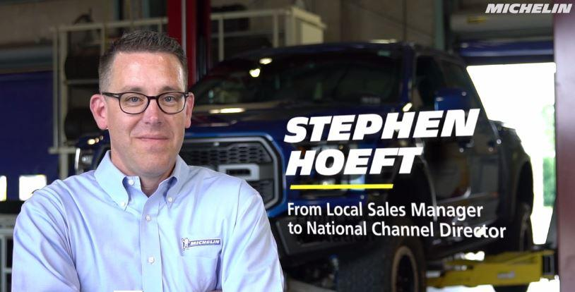 Stephen Hoeft, a sales employee, has experienced career mobility at Michelin, changing jobs several times in sales. Now he serves national customers.