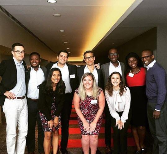 Colleagues posing for a photo during the Jumpstart UGrad Careers Diversity Forum. Oliver Wyman participates annually, and the forum is designed to educate, empower and employ the next generation of future business leaders!