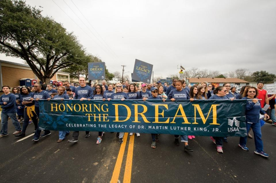USAA employees proudly representing at the MLK Jr. Walk