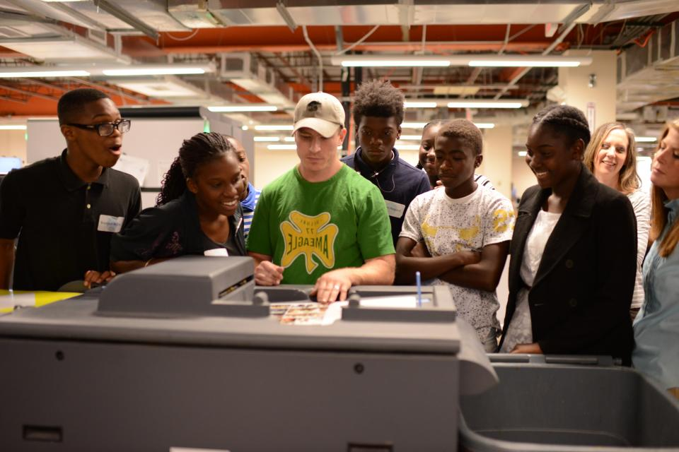 Our print shop showing local students the behind the scenes of magazine publication.