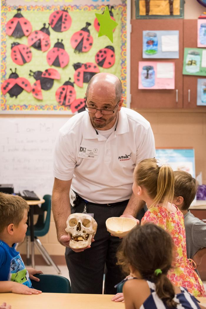 David Shepard Talks Bones with Kindergarten and First Grade Students