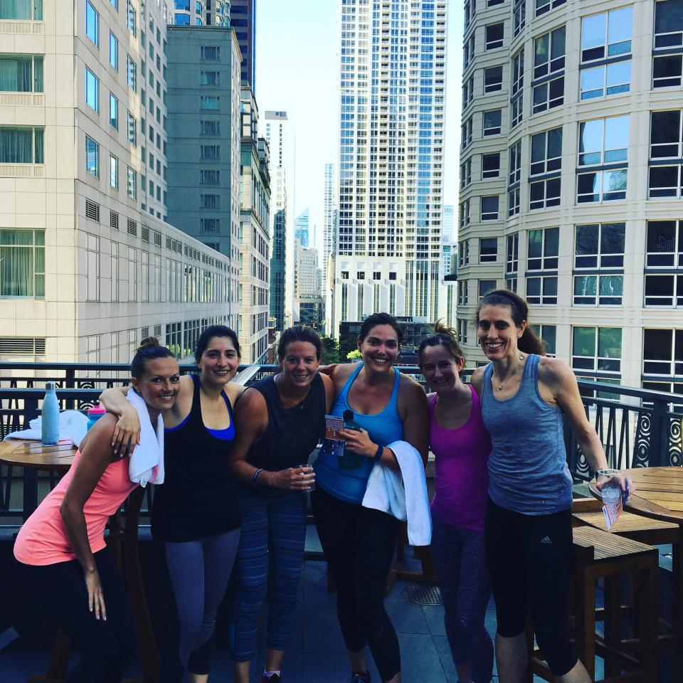 This health conscious group walks the talk and exercises together outside of work.