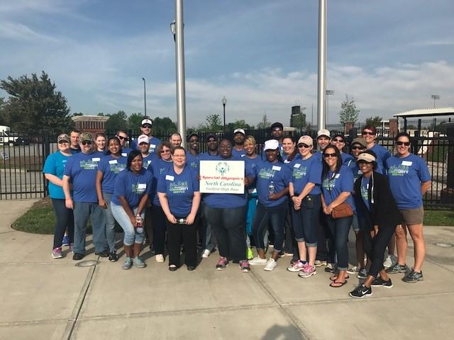 Employees volunteering for Special Olympics
