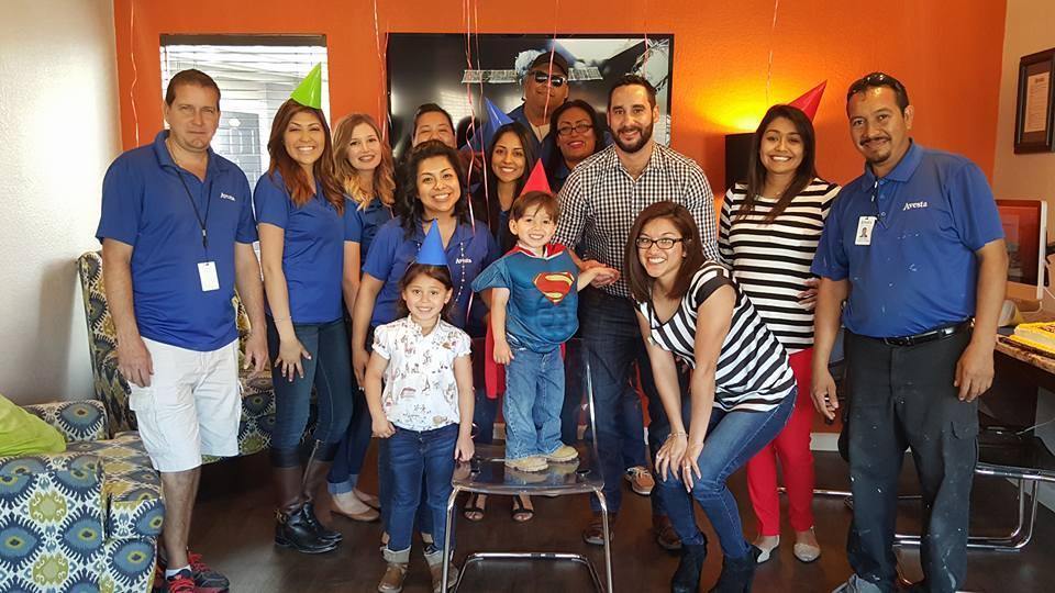 Avesta teammates celebrating a resident's birthday at Avesta Agave Falls in Austin, TX.