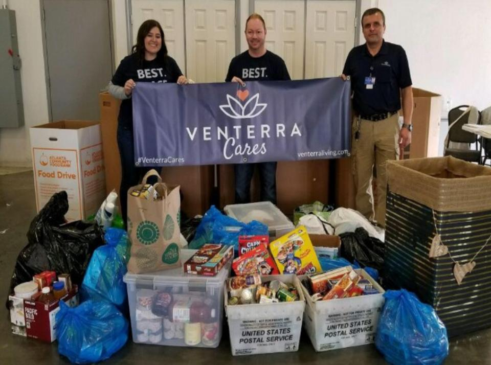 Community food drives are one of the many ways we give back through the Venterra Cares program!
