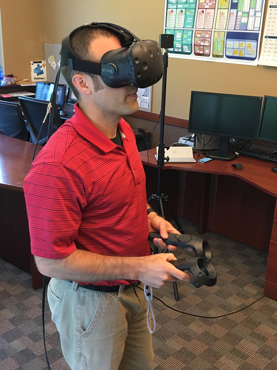 Rob testing the new vr rig.