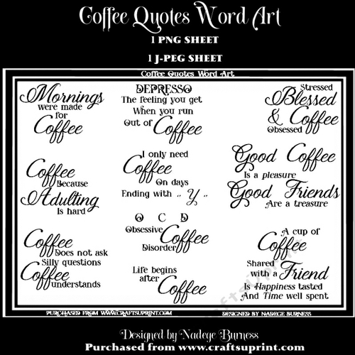 Coffee Quotes Word Art