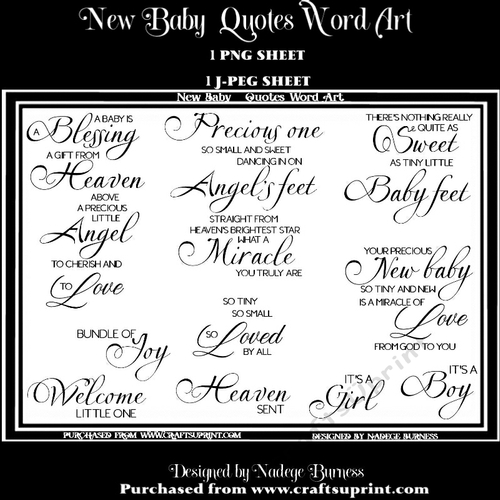 New Baby Quotes Word Art Cup94658620051 Craftsuprint