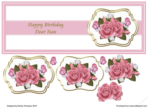 Pink Floral DL Birthday Card Front Nan