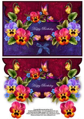 Pansies And Butterflies Envelope Card