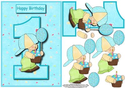 boy st birthday card front with decoupage  cup, Birthday card