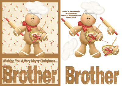 merry christmas brother a5 decoupage card
