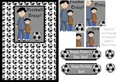Football Dad And Son Fathers Day Birthday Card Front