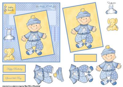 Cute Baby Boy First Birthday Card Front With Topper