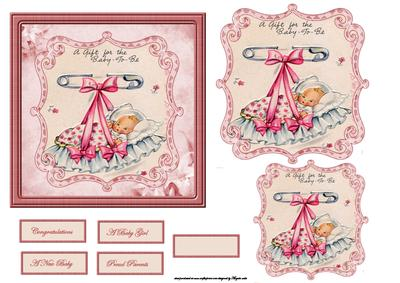 New Baby Girl In A Crib Card Front And Toppers Cup477972