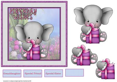 Elephants Birthday Wishes Card With Decoupage