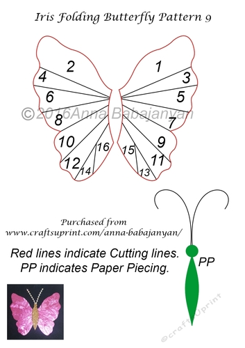 iris folding butterfly pattern 9