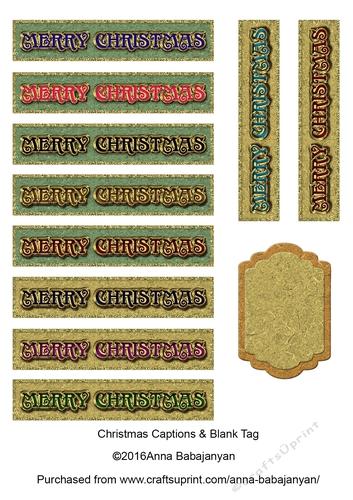 Christmas Captions.Christmas Captions Blank Tag