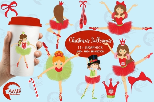 Nutcracker Christmas Tree Clipart.Christmas Ballerinas Ballerina Clipart Ballet Clipart Christmas Clipart Nutcracker Instant Download Amb 571