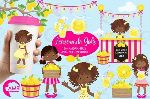 Lemonade stand clipart, Lemonade clipart, lemon clip art, Lemonade party  clipart, digital clip art, AMB-897