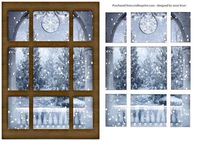 Snowy Christmas Tree Window Scene Easy Layers