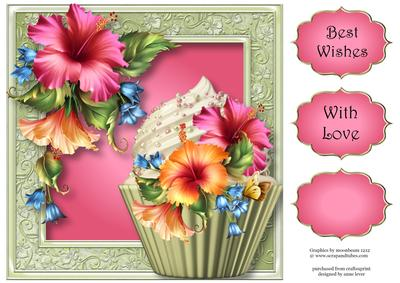 Gorgeous Hibiscus Cupcake 8x8 Quick Topper Cup6186711763