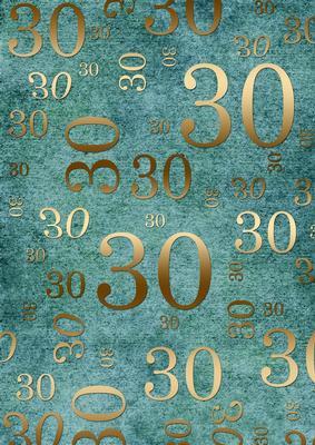 Marvelous Deep Aqua And Gold 30Th Birthday A4 Backing Paper Funny Birthday Cards Online Benoljebrpdamsfinfo