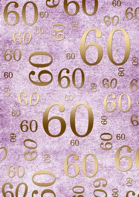 Lilac And Gold 60th Birthday A4 Backing Paper Cup218946