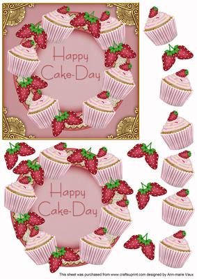 Happy Cake Day Strawberry Cupcake Decoupage 3d Ring Sheet