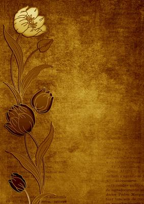 Vintage Gold Tulips Border A4 Backing Paper