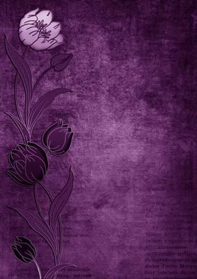 Vintage Purple Tulips Border A4 Backing Paper Cup238894