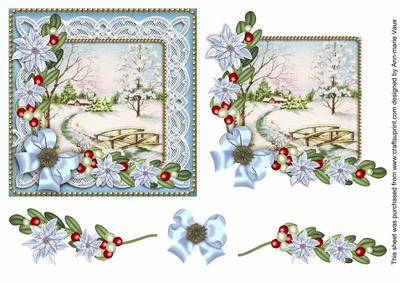 Ice Blue Snowscene1 Poinsettia Decoupage Step By Step