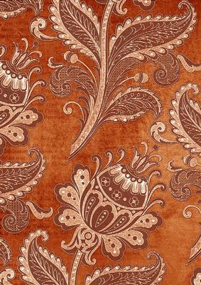 Burnt Orange Floral Wallpaper A4 Backing Paper