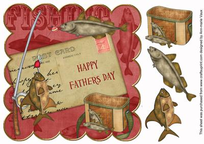 Red happy fathers day fishing 8in decoupage topper for Father s day fishing card