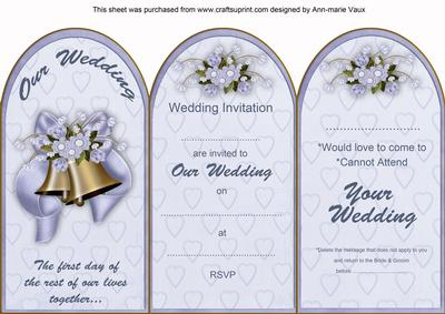 Blue Wedding Bells Wedding Invitation Rsvp Tri Fold Card