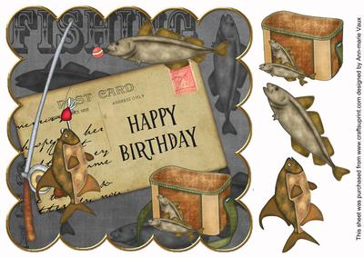 Black fishing happy birthday 8in decoupage step by step for Fishing birthday wishes