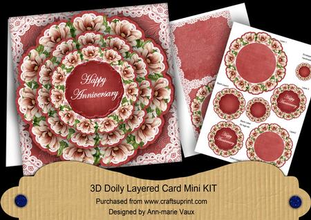 Red Magnolia Happy Anniversary 3d Doily Card Mini Kit Cup45870010