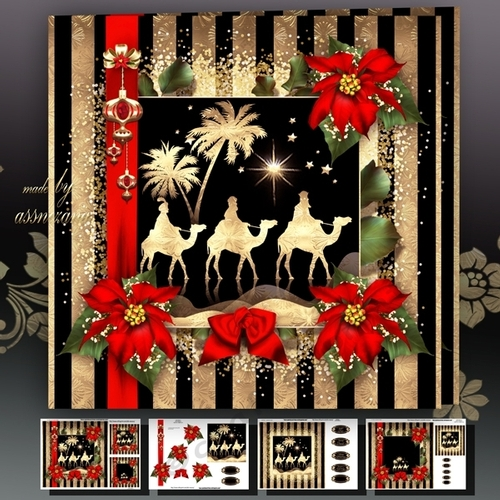 Great Golden Black Christmas Card With The Three Kings Mini Kit   CUP746081_1641 .