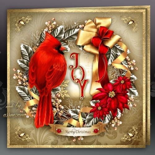 Christmas Silver Wreath With Cardinal Bird Mini Kit