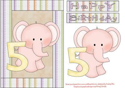Happy 5th Birthday Elephant Girl