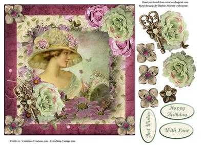 Rose Victorian Lady Portrait with Decoupage - CUP421226_1865 ...