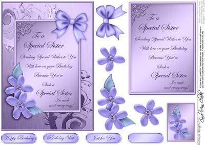 Metallic Special Sister Birthday With 3d Decoupage