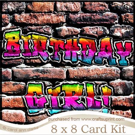 8 X 8 Graffiti Birthday Girl Kit With Scalloped Corners