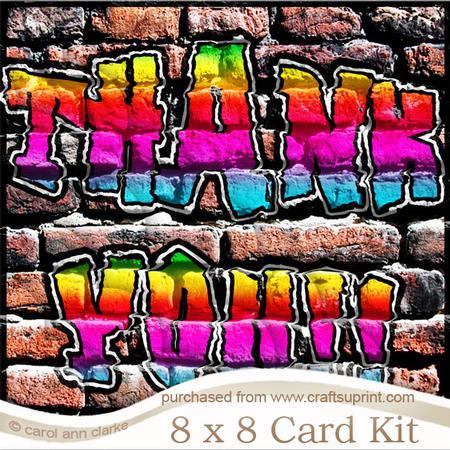 8 X 8 Graffiti Thank You Kit With Scalloped Corners