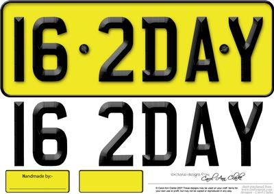 Large Dl 16th Birthday Novelty Number Plate and 3D Decoupage ...