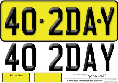 Large Dl 40th Birthday Novelty Number Plate And 3D Decoupage